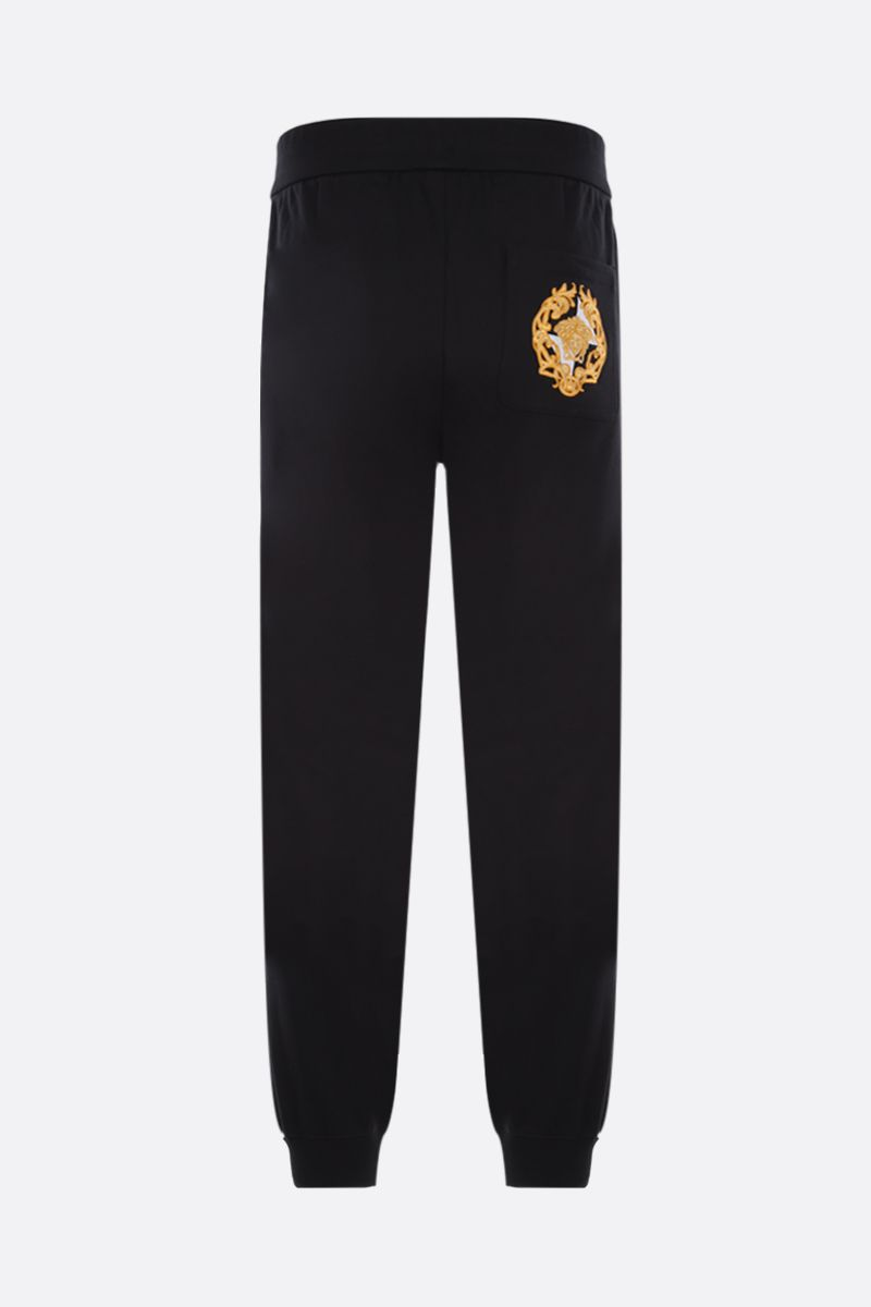 VERSACE: Medusa crest embroidered cotton joggers Color Black_2