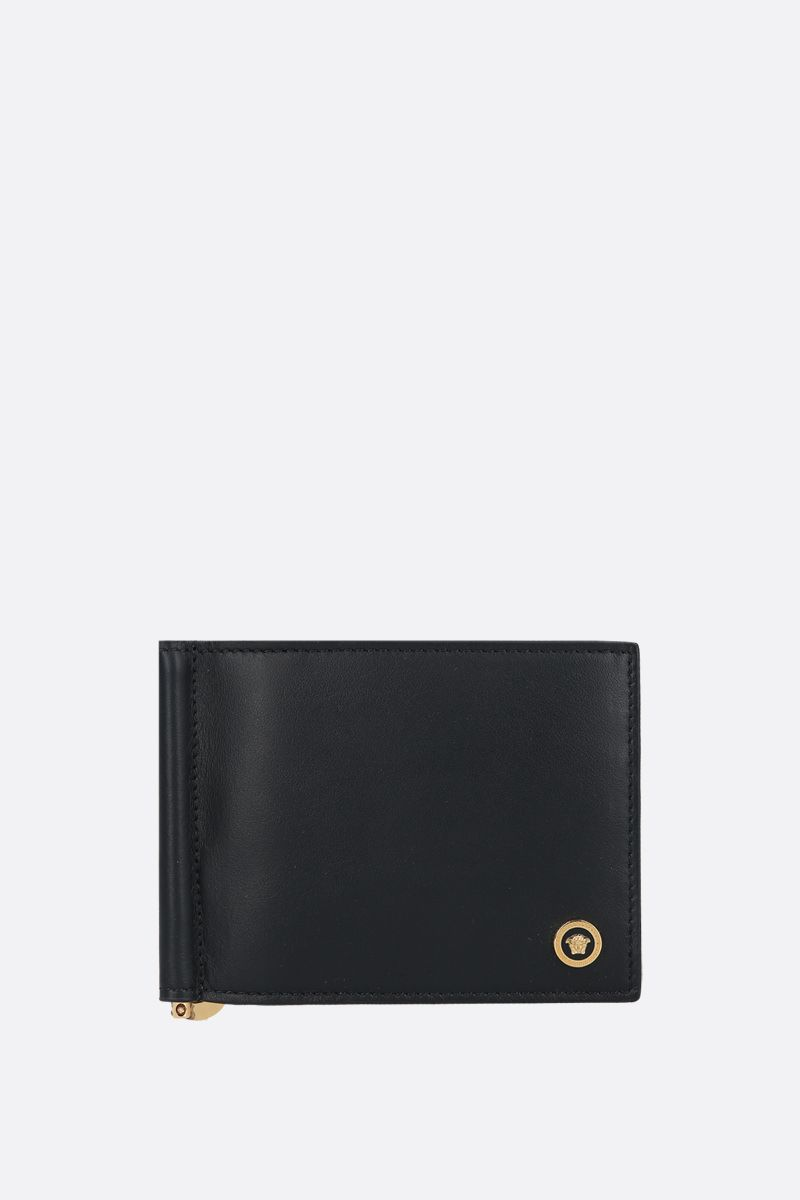 VERSACE: Medusa-detailed smooth leather money-clip wallet Color Black_1