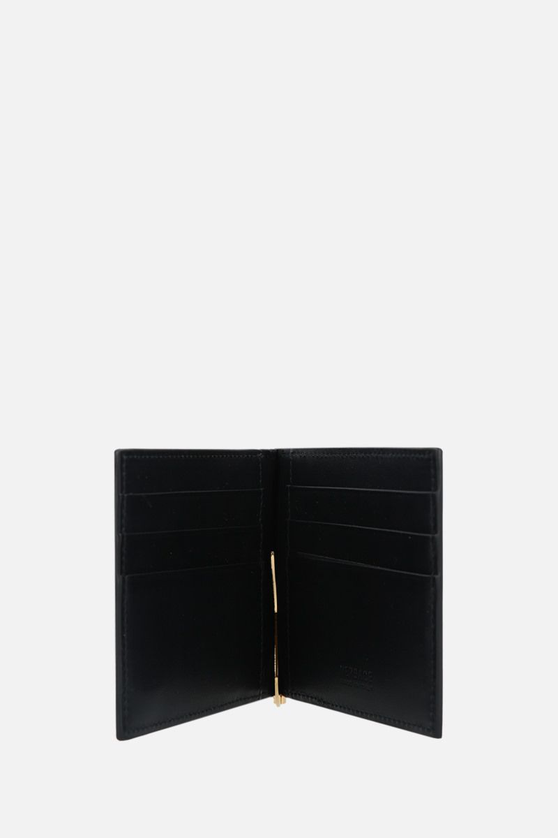 VERSACE: Medusa-detailed smooth leather money-clip wallet Color Black_2