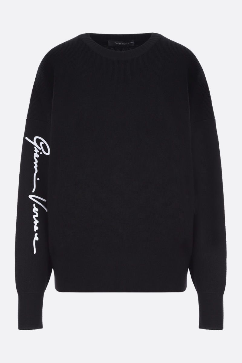 VERSACE: GV Signature embroidered wool pullover Color Black_1