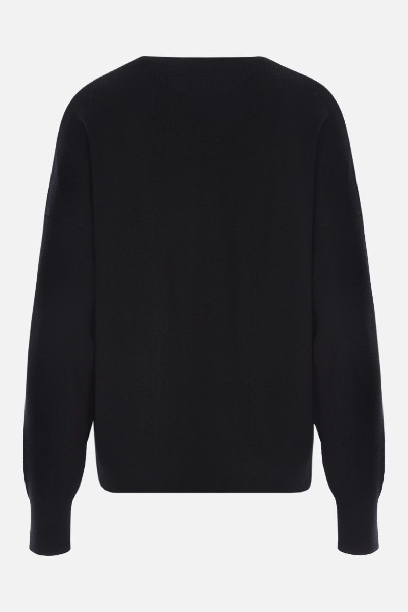 VERSACE: GV Signature embroidered wool pullover Color Black_2