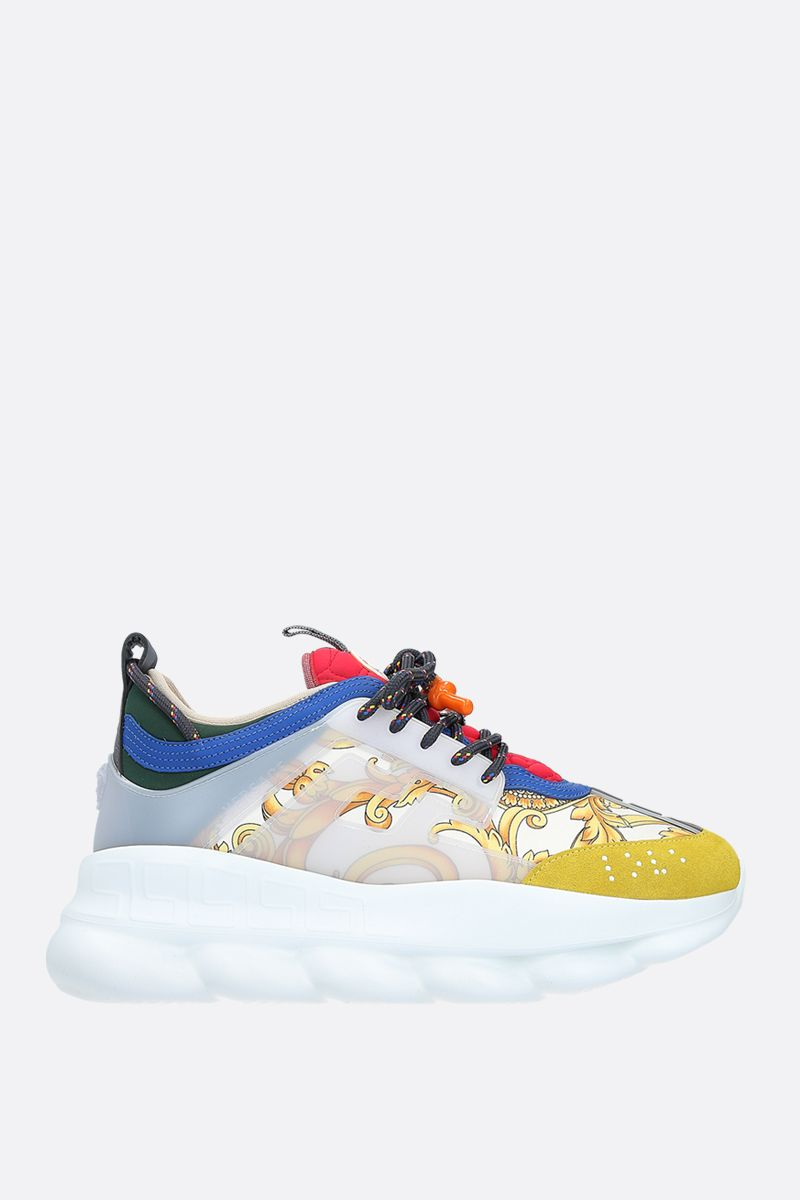 VERSACE: sneaker Chain Reaction in un mix di materiali Colore Bianco_1