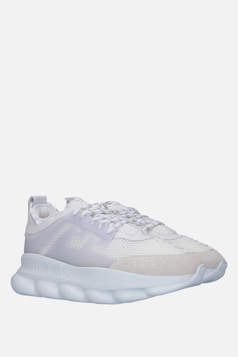 VERSACE: Chain Reaction mesh and smooth leather sneakers Color White_2
