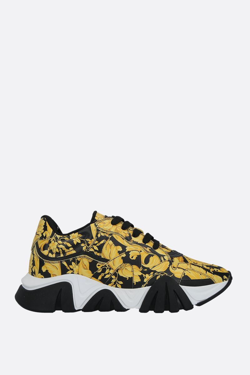 VERSACE: Squalo sneakers in Barocco printed smooth leather Color Black_1
