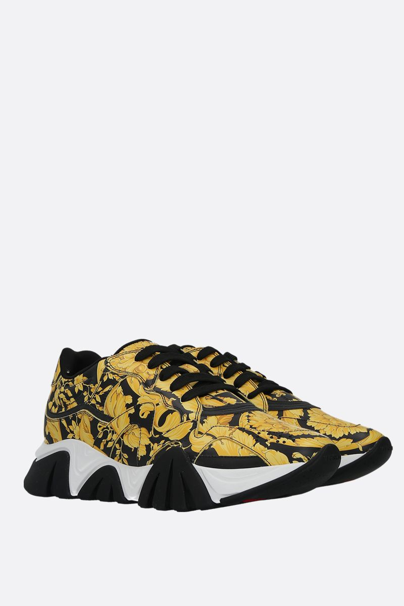 VERSACE: Squalo sneakers in Barocco printed smooth leather Color Black_2