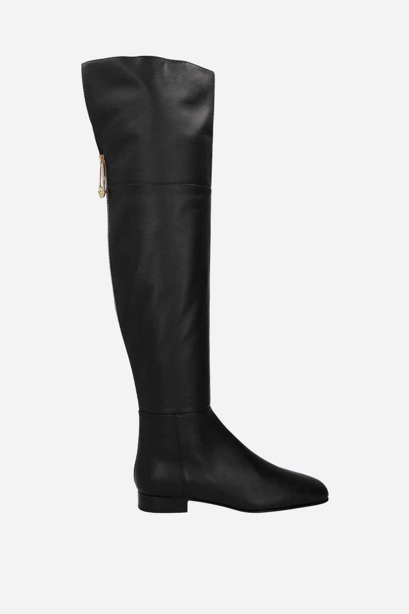 VERSACE: Safety Pin smooth leather over-the-knee boots Color Black_1