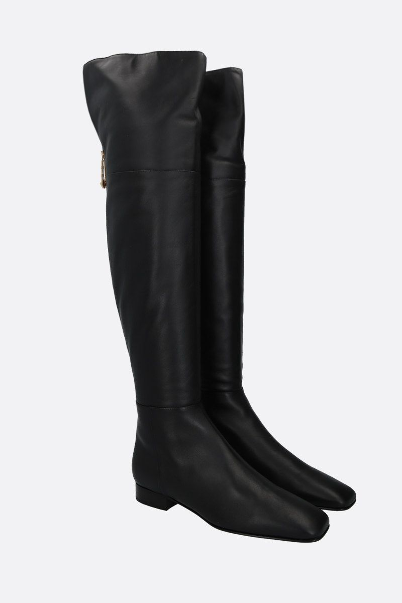 VERSACE: Safety Pin smooth leather over-the-knee boots Color Black_2