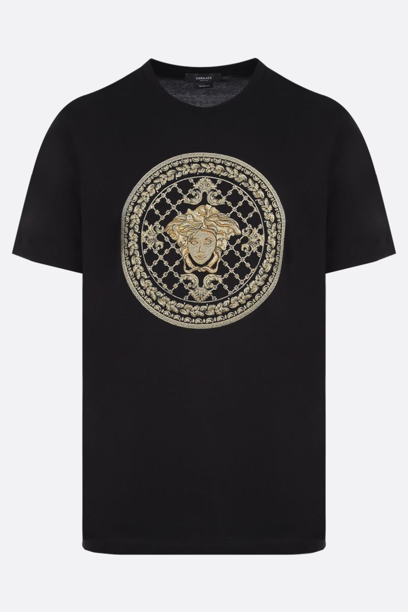VERSACE: Medusa embroidered cotton t-shirt Color Black_1