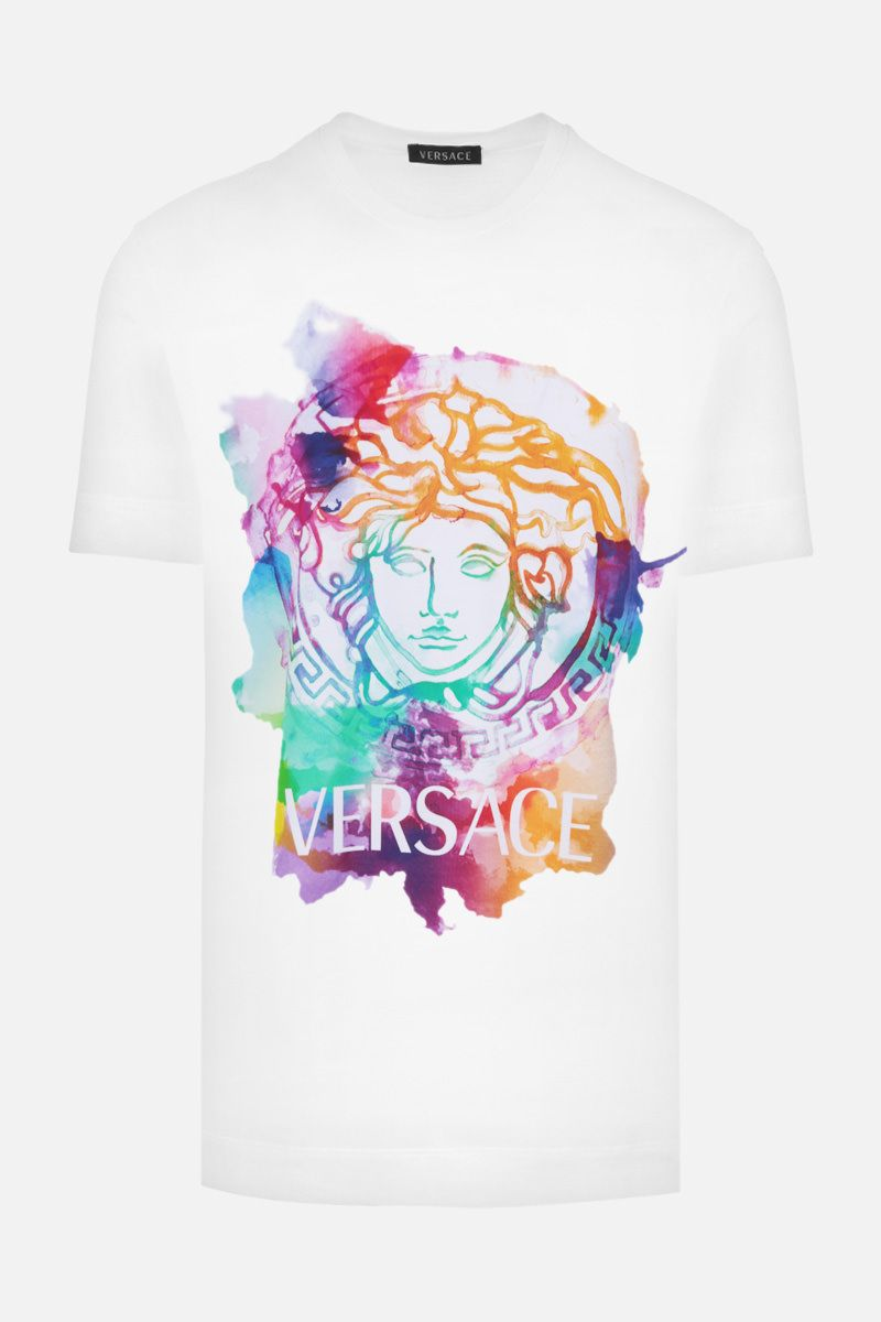 VERSACE: Medusa Tye-Dye print cotton t-shirt Color White_1