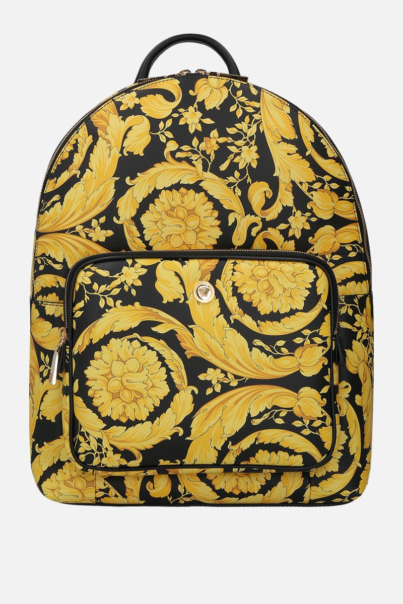 VERSACE: Barocco print smooth leather backpack Color Multicolor_1