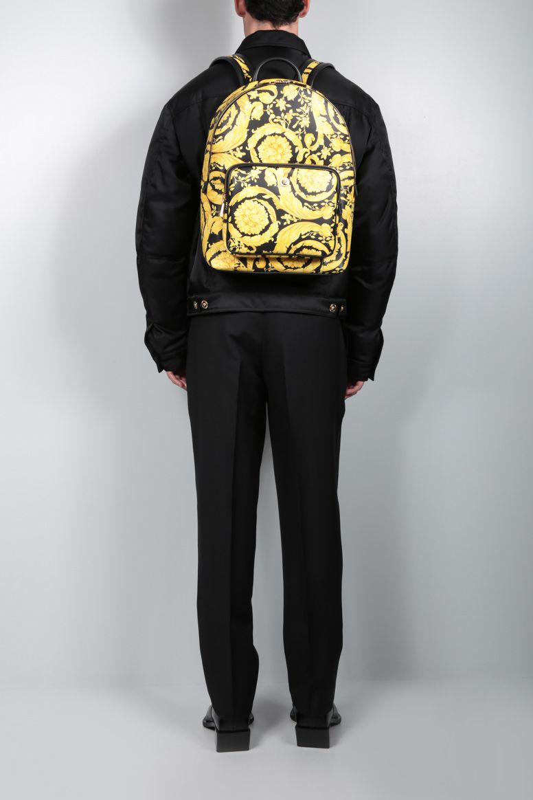 VERSACE: Barocco print smooth leather backpack Color Multicolor_3