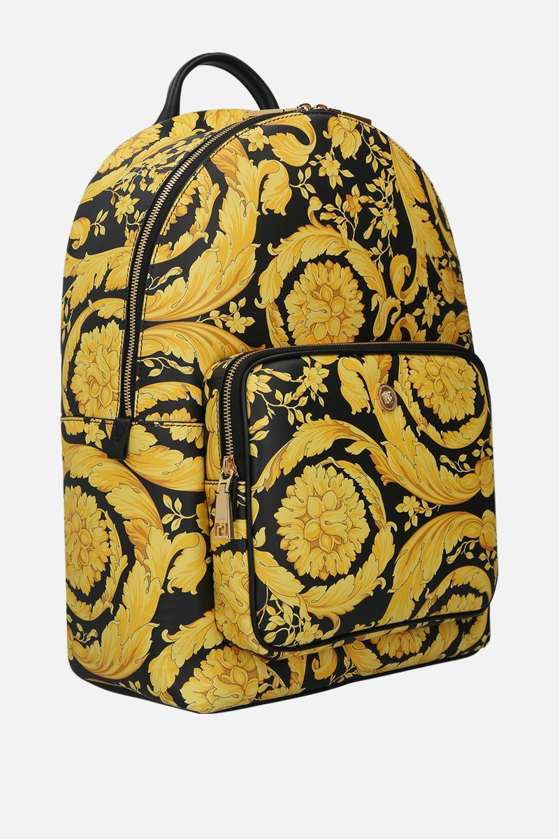 VERSACE: Barocco print smooth leather backpack Color Multicolor_2