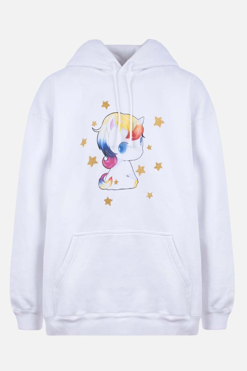 VETEMENTS: Heartbreaker Unicorn oversize cotton blend hoodie Color White_1