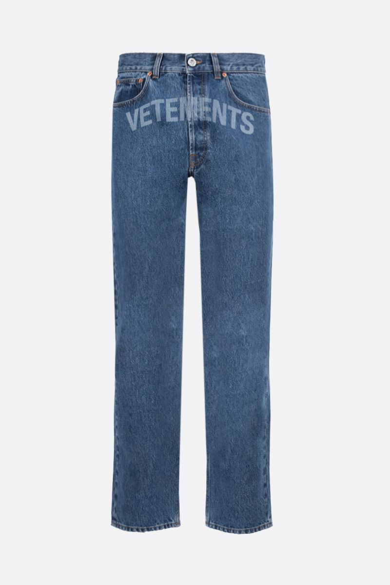 VETEMENTS: logo print regular-fit jeans Color Blue_1