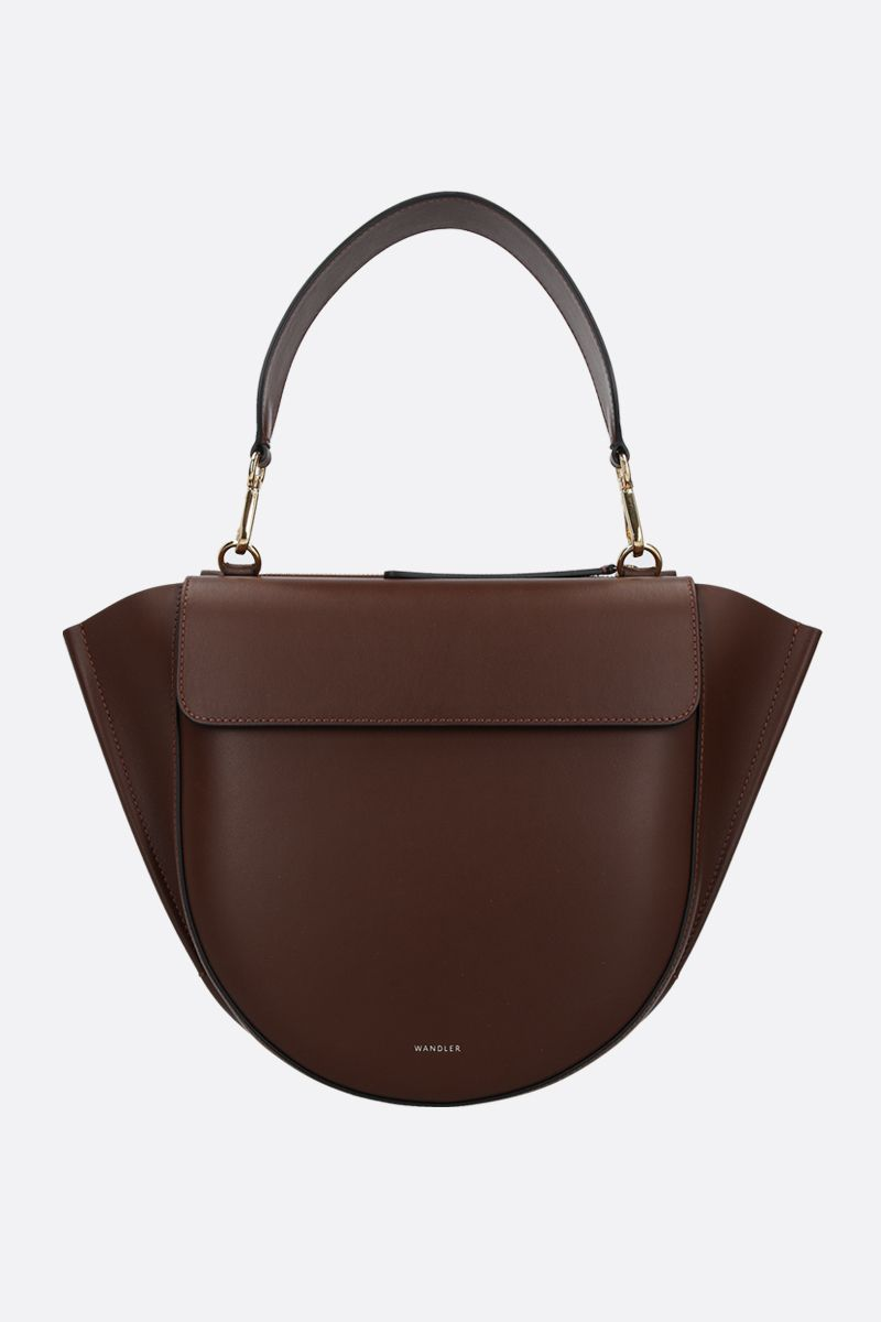 WANDLER: Hortensia mini smooth leather handbag Color Brown_1