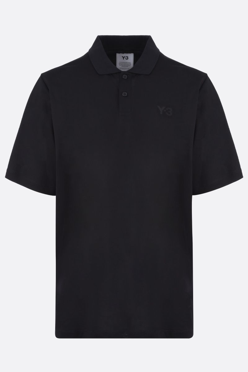 Y-3: Y-3 print cotton polo shirt Color Black_1