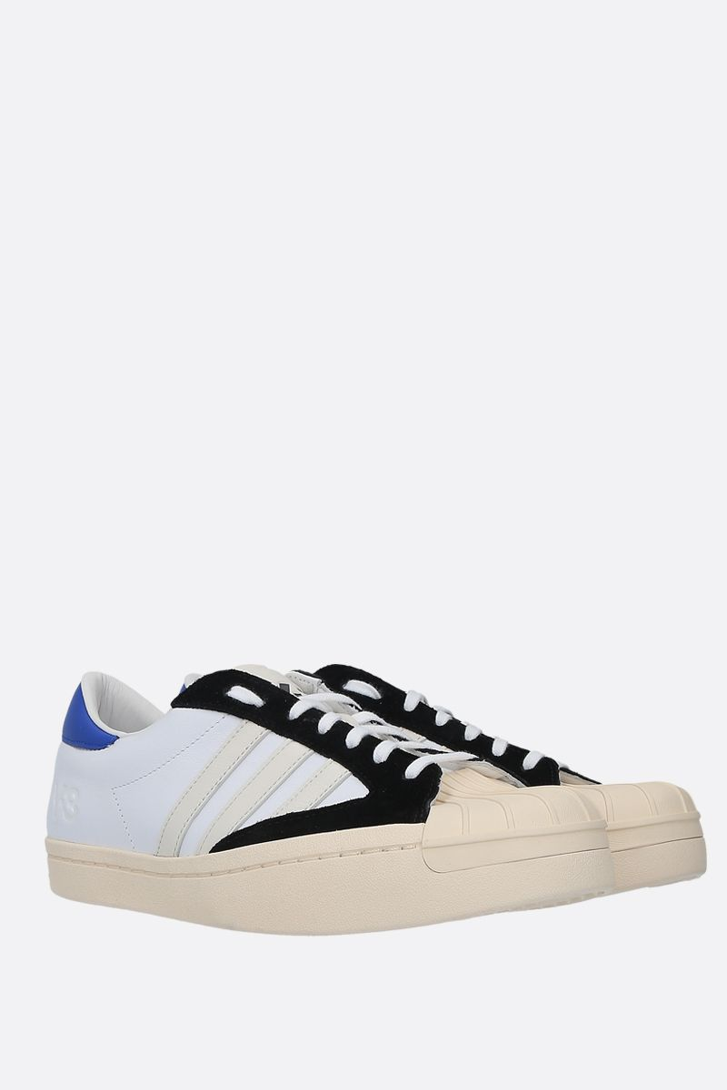 Y-3: Y-3 Yohji Star smooth leather and rubber sneakers Color White_2