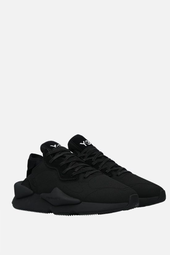 Y-3: Y-3 Kaiwa technical fabric and suede sneakers Color Black_2