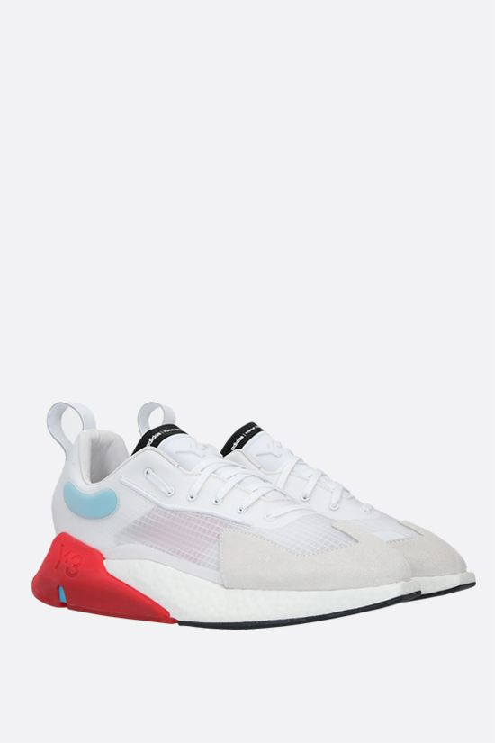Y-3: Y-3 Orisan technical fabric and suede sneakers Color White_2