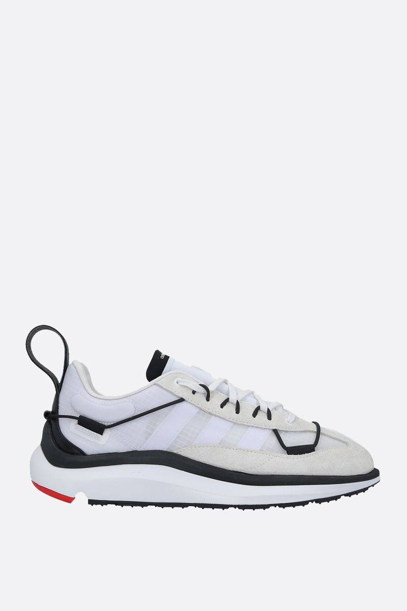 Y-3: Y-3 Shiku Run mesh and suede sneakers Color White_1