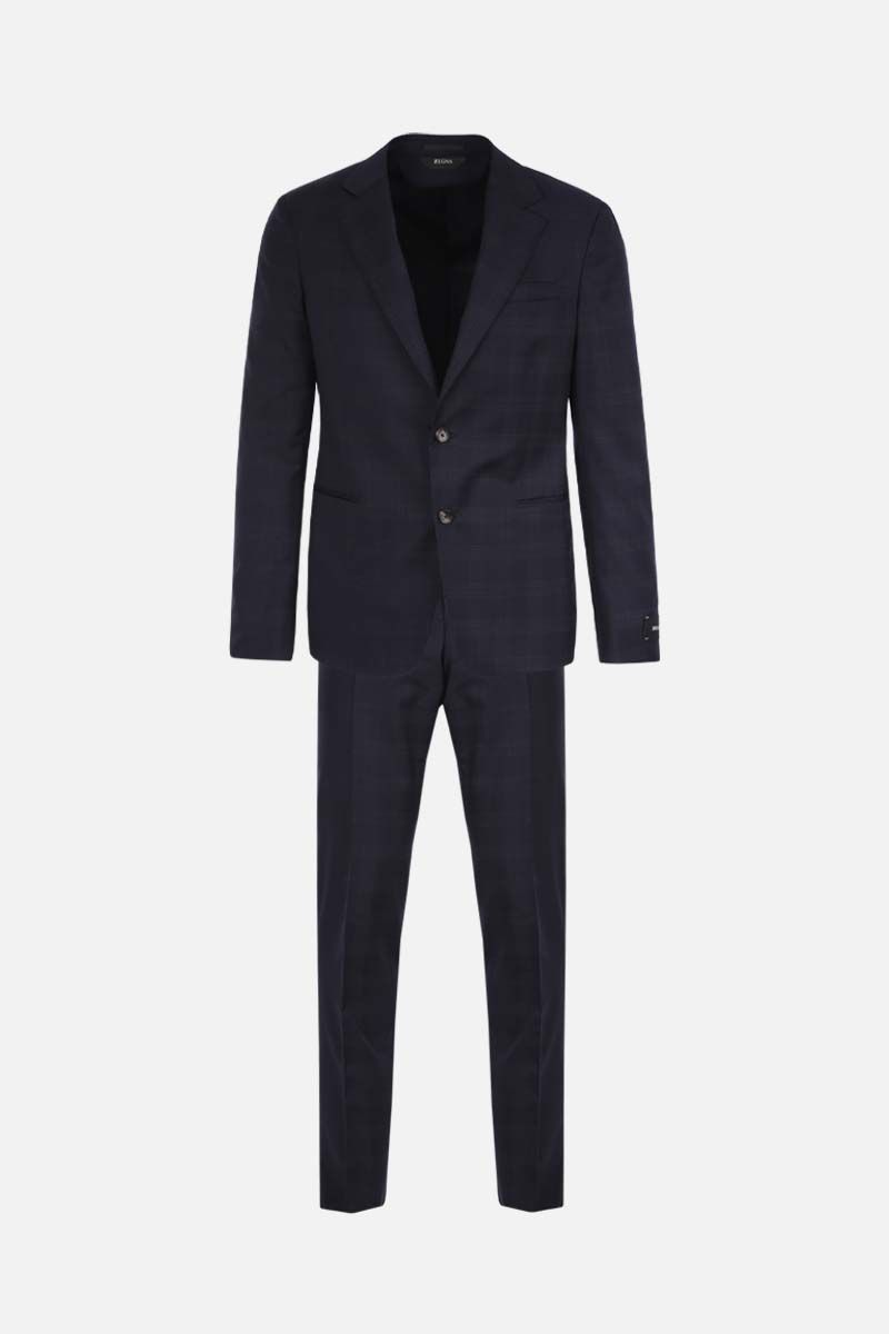 Z ZEGNA: check wool two-piece suit Color Blue_1