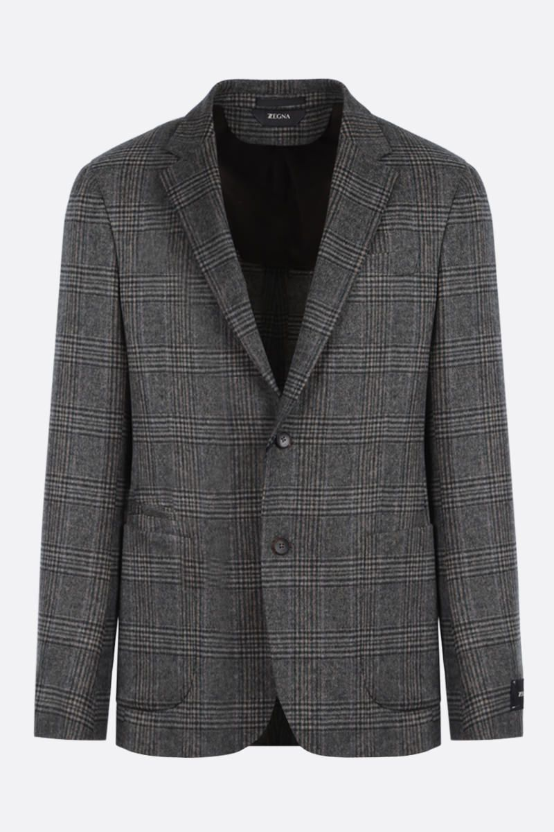 Z ZEGNA: prince of Wales wool blend single-breasted jacket_1