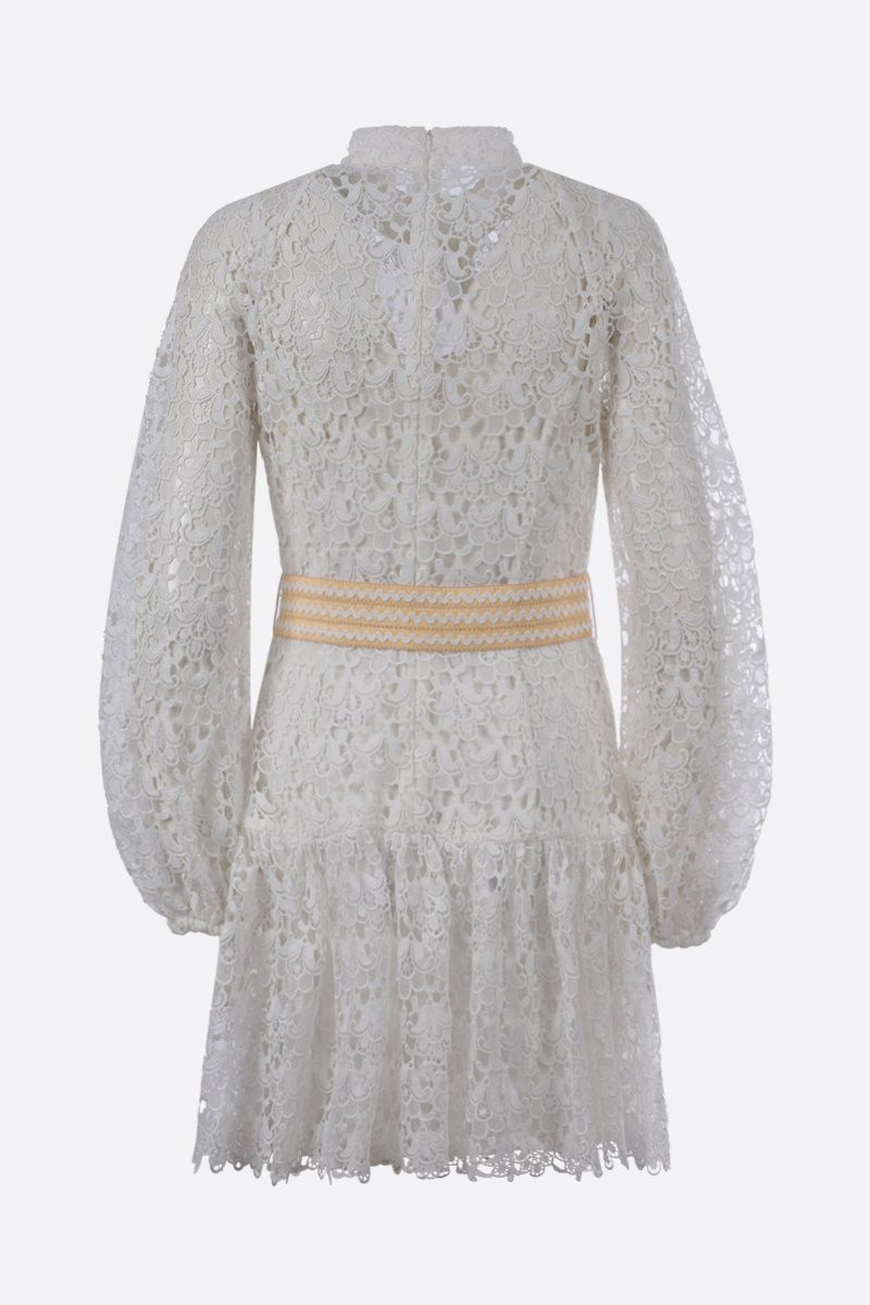 ZIMMERMANN: Empire floral lace short dress Color White_2