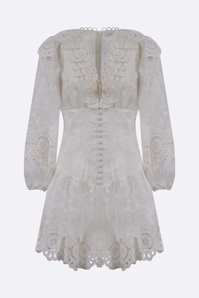 ZIMMERMANN: Bellitude linen short dress Color White_1