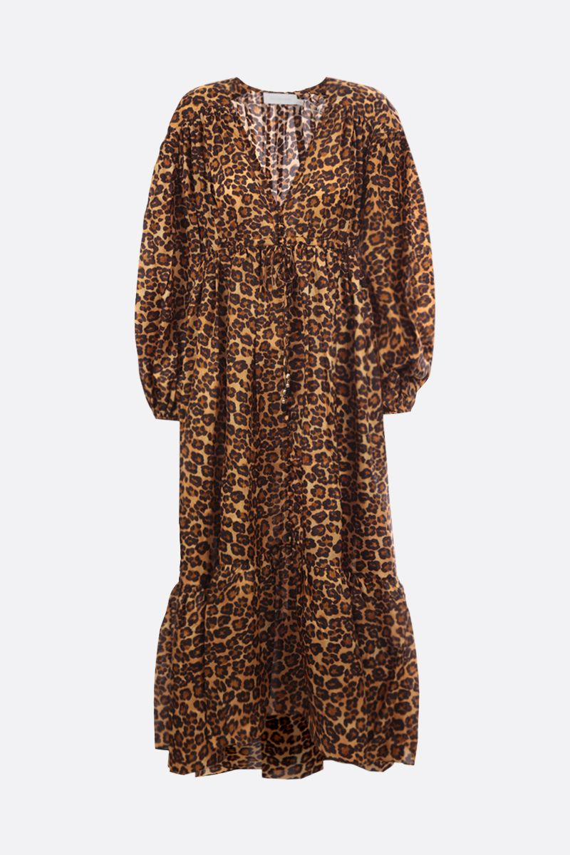 ZIMMERMANN: Amelie satin midi dress Color Animalier_1
