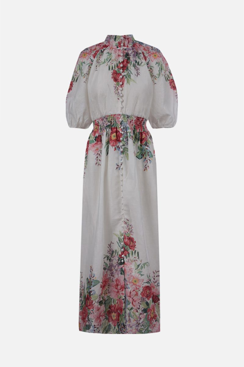 ZIMMERMANN: Bellitude linen midi dress Color Multicolor_1