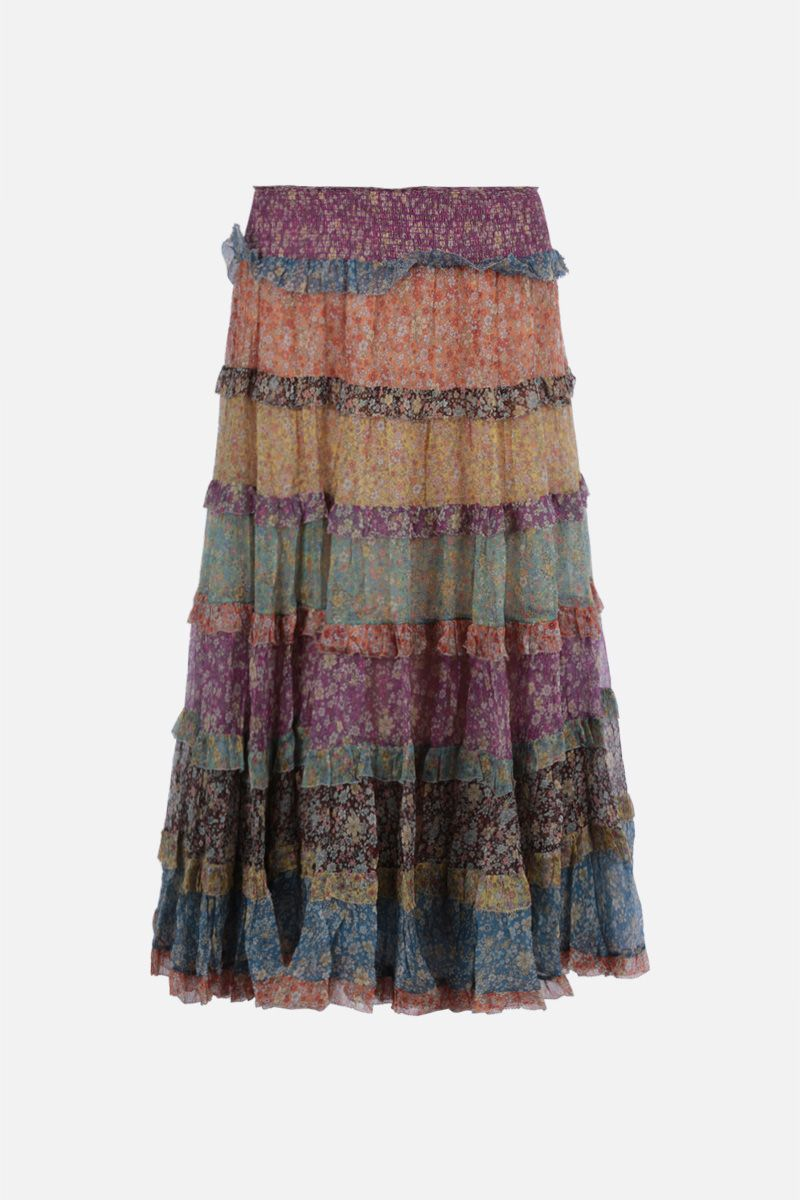 ZIMMERMANN: gonna a balze Carnaby in seta floreale Colore Multicolore_1