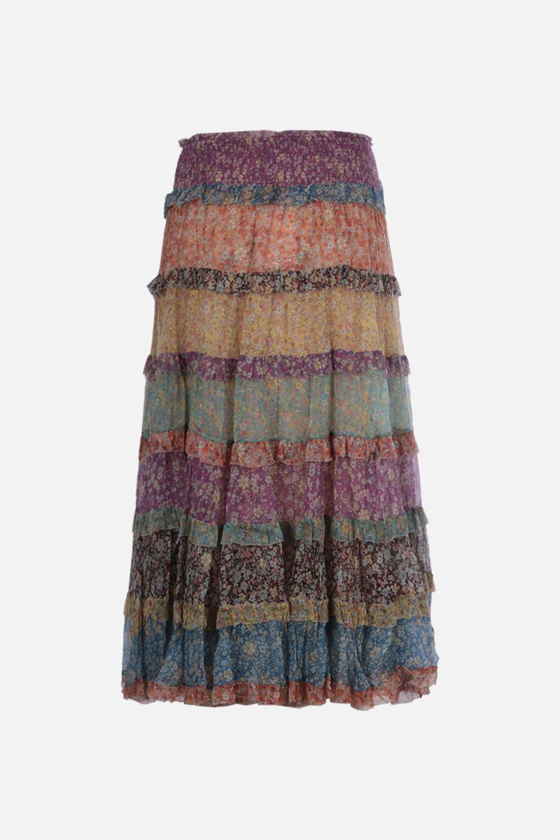 ZIMMERMANN: Carnaby floral silk flounced skirt Color Multicolor_2
