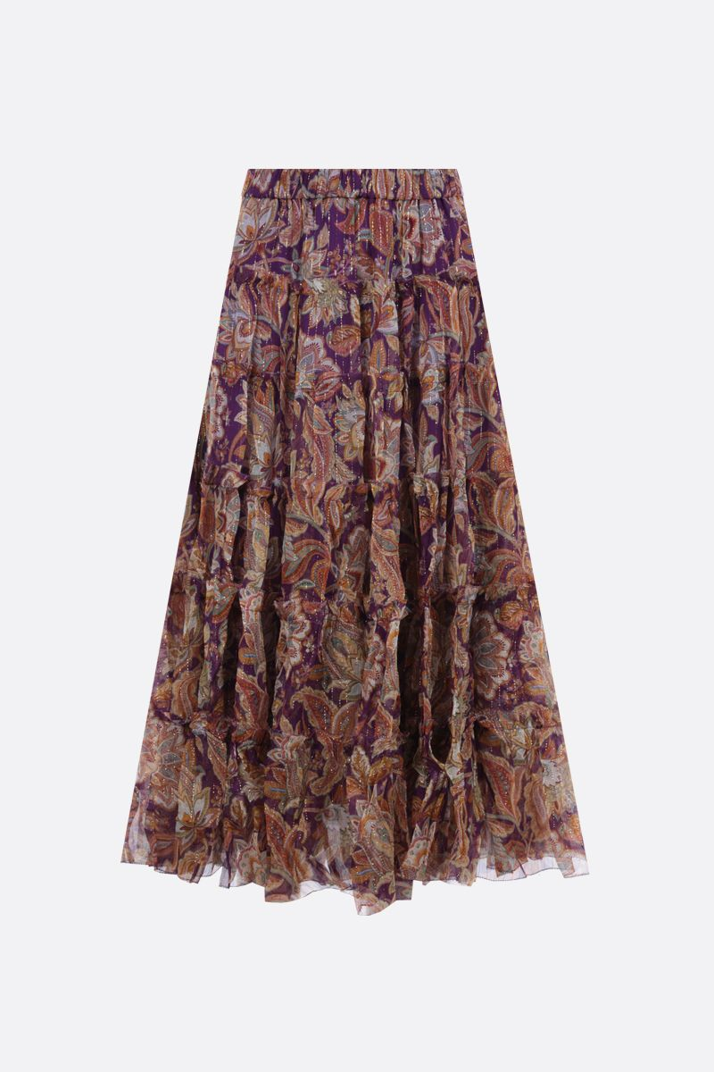 ZIMMERMANN: Ladybeetle silk lurex flounced skirt Color Multicolor_1
