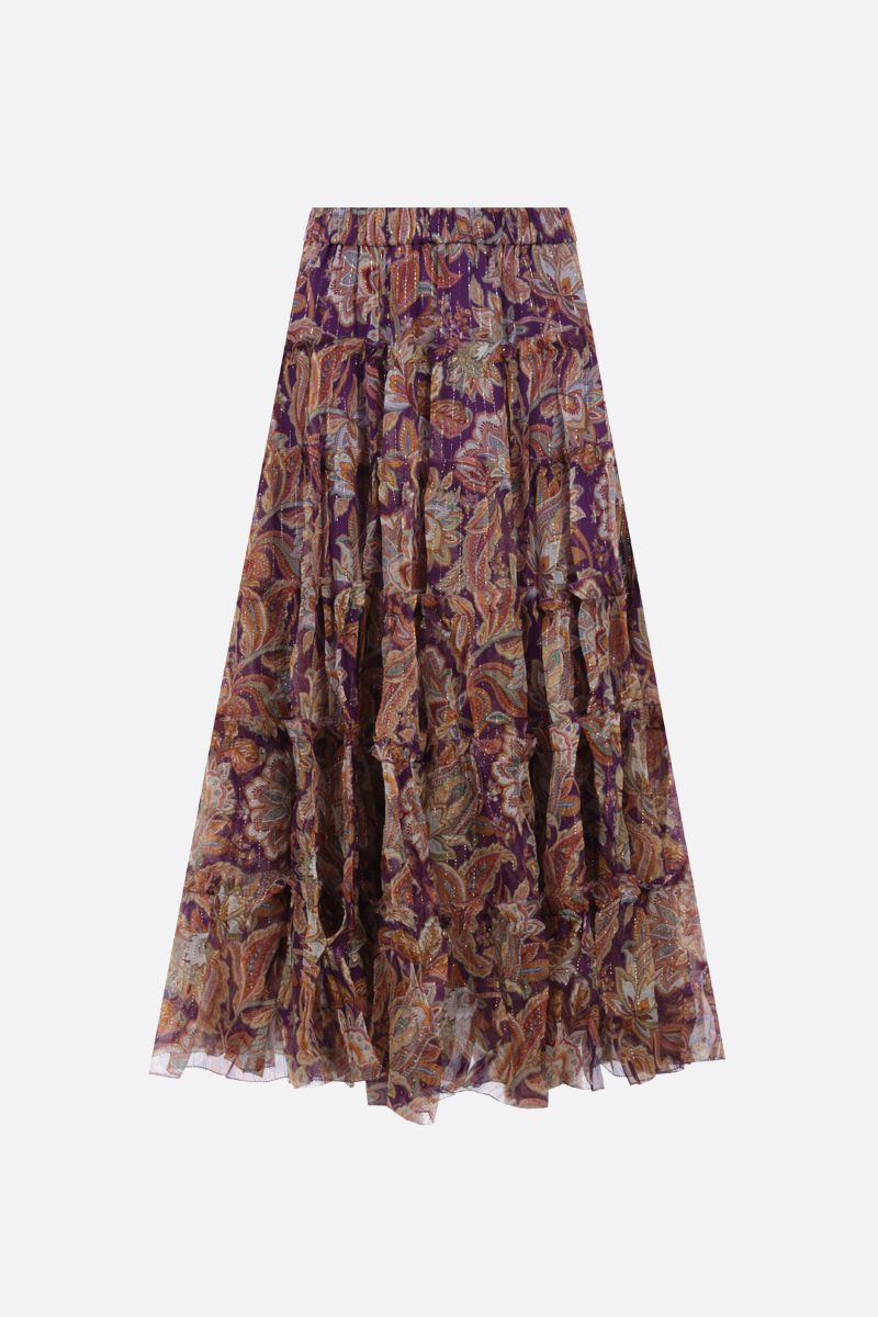 ZIMMERMANN: Ladybeetle silk lurex flounced skirt Color Multicolor_2