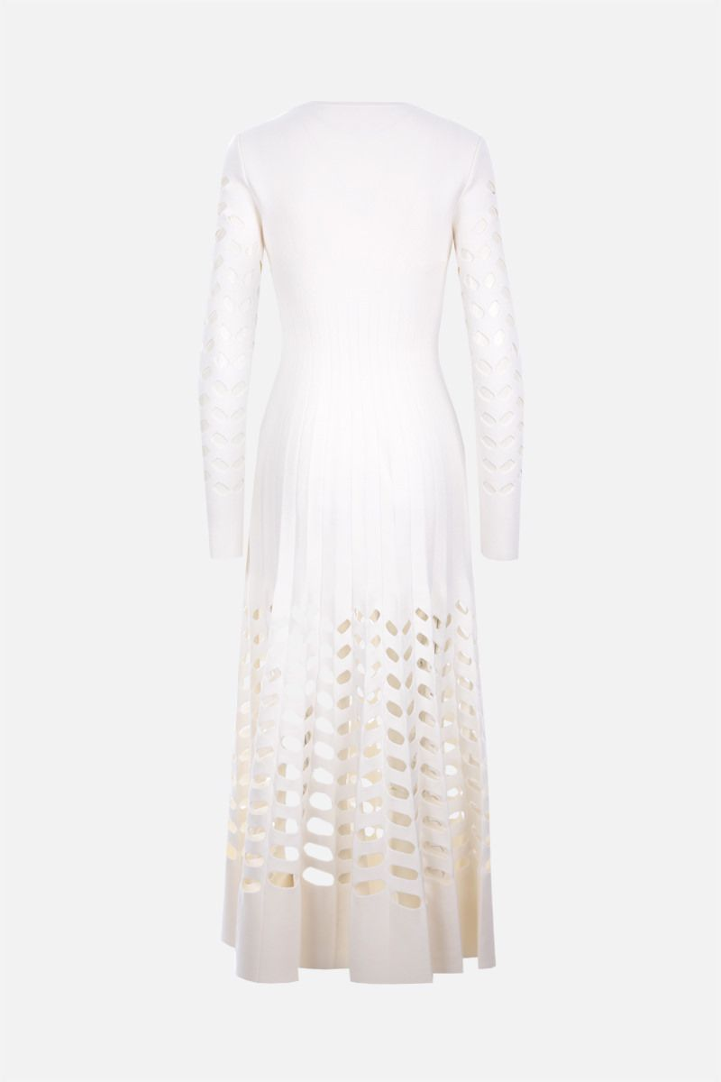 ALAIA: wool blend pleated dress Color White_2