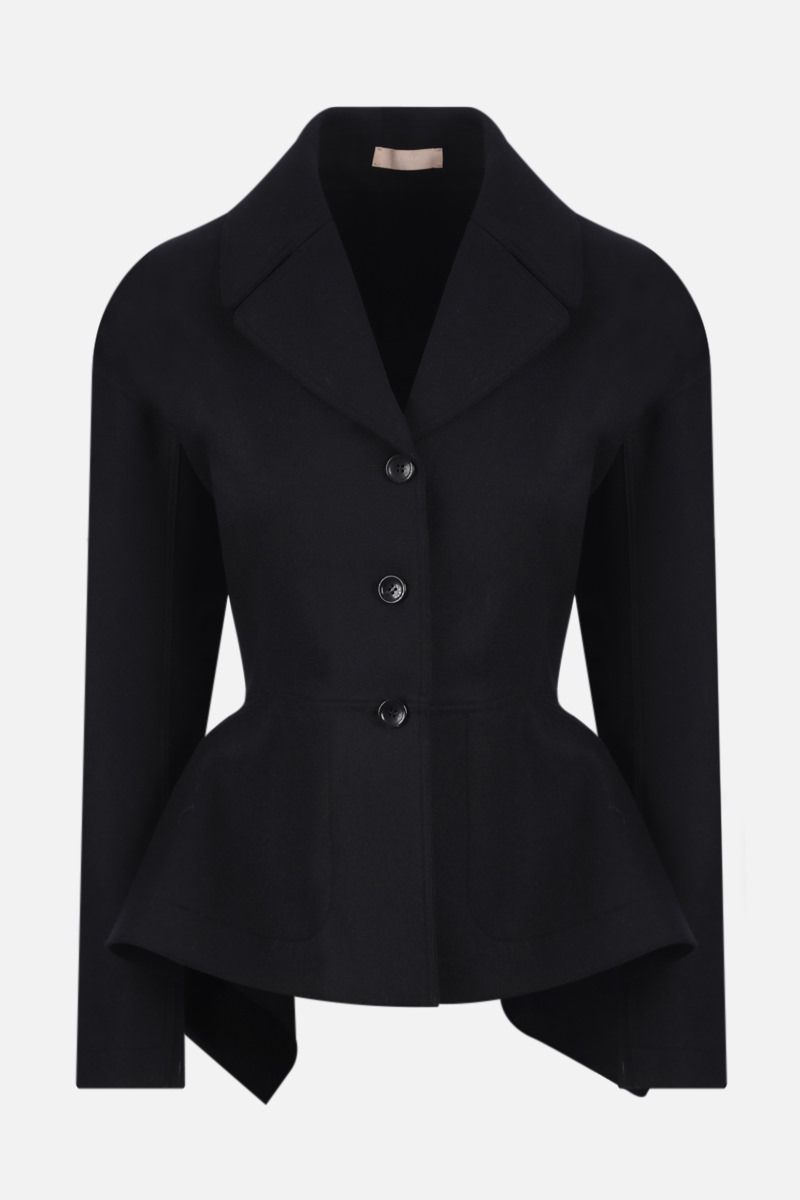 ALAIA: single-breasted cashmere wool blend coat Color Black_1