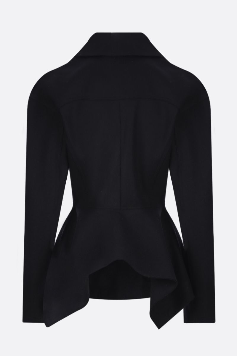 ALAIA: single-breasted cashmere wool blend coat Color Black_2