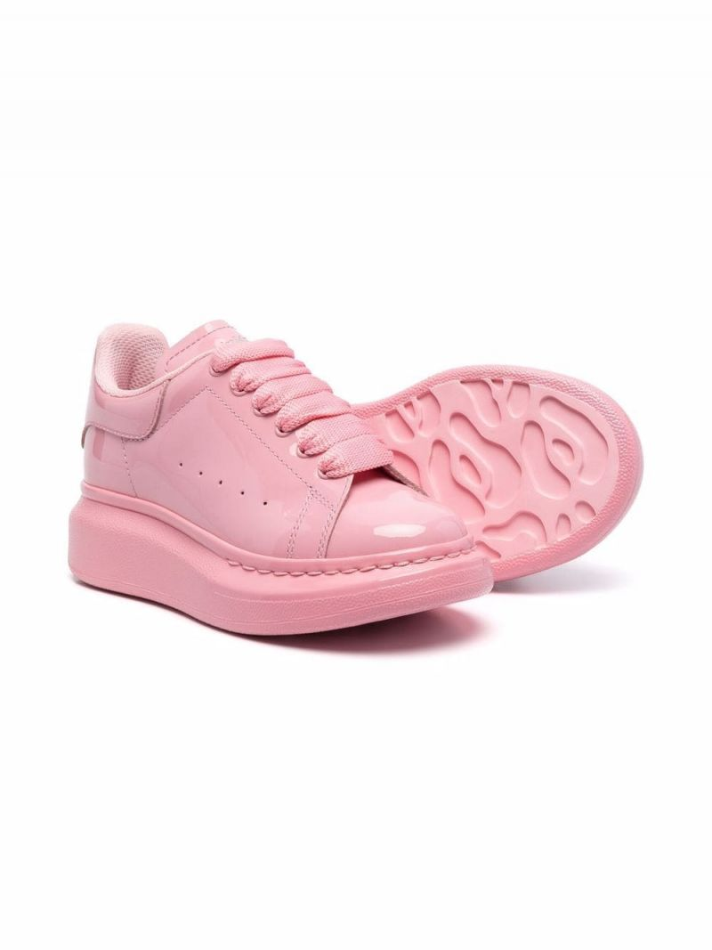 ALEXANDER McQUEEN KIDS: Oversize smooth leather sneakers Color Pink_2