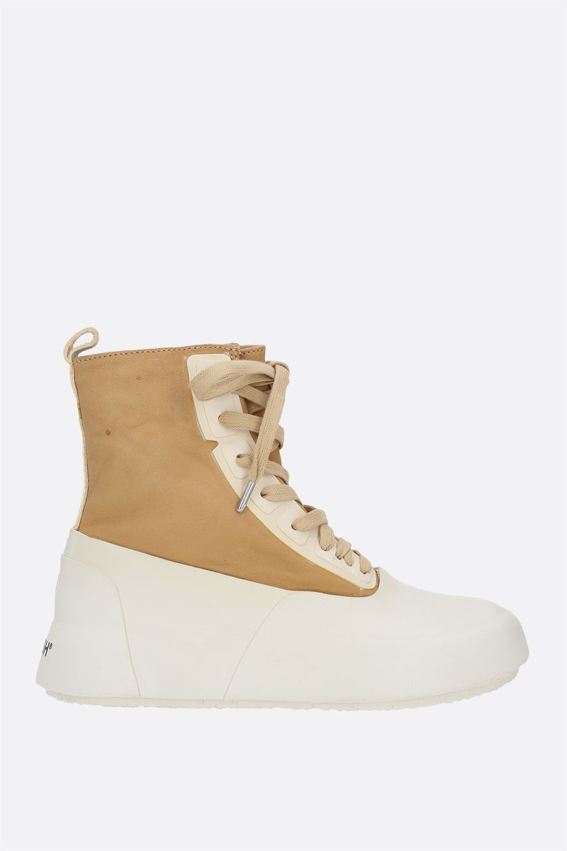 AMBUSH: vintage leather and rubber high-top sneakers Color Neutral_1