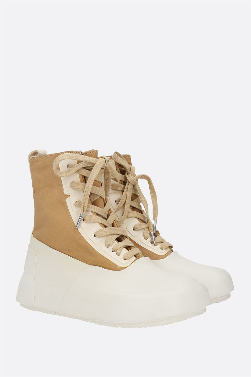 AMBUSH: vintage leather and rubber high-top sneakers Color Neutral_2