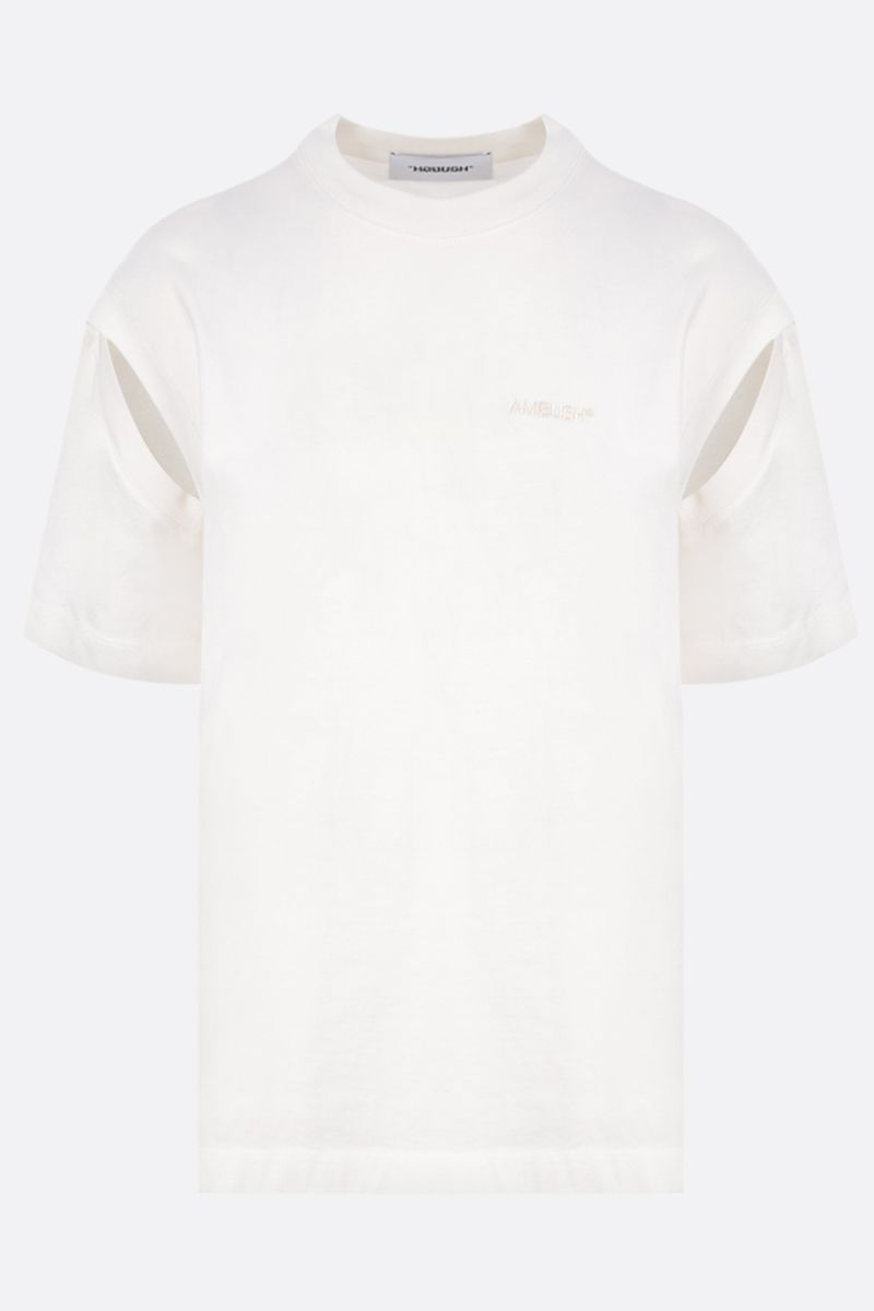 AMBUSH: 2way cotton t-shirt with logo embroidery Color White_1