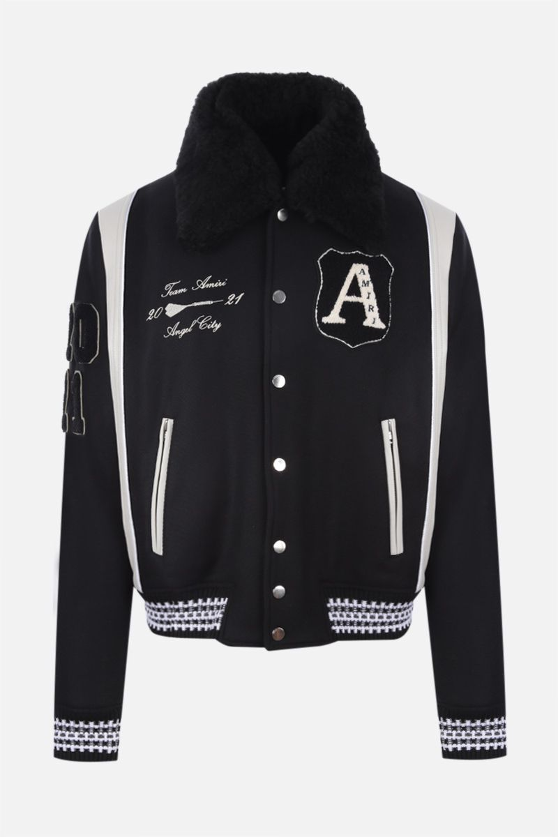 AMIRI: Always On Point technical wool and leather varsity jacket Color Black_1