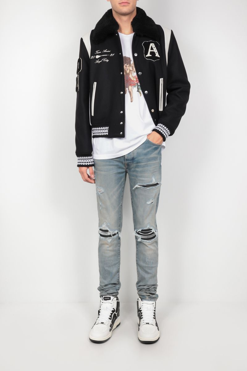 AMIRI: Always On Point technical wool and leather varsity jacket Color Black_2