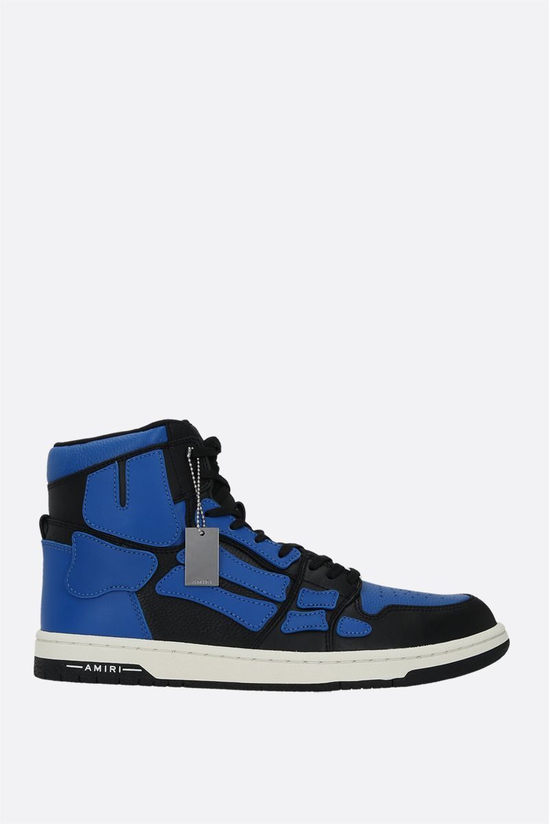 AMIRI: Skel smooth and grainy leather high-top sneakers Color Blue_1