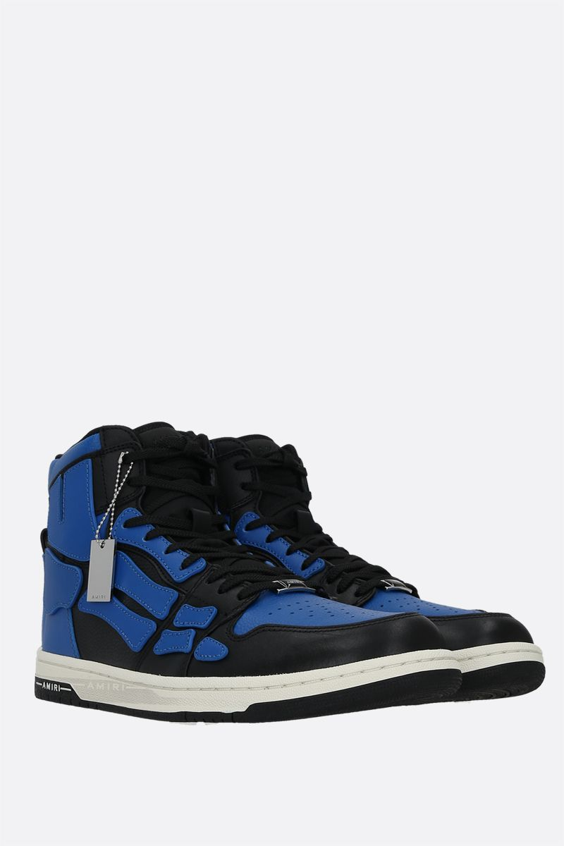 AMIRI: Skel smooth and grainy leather high-top sneakers Color Blue_2
