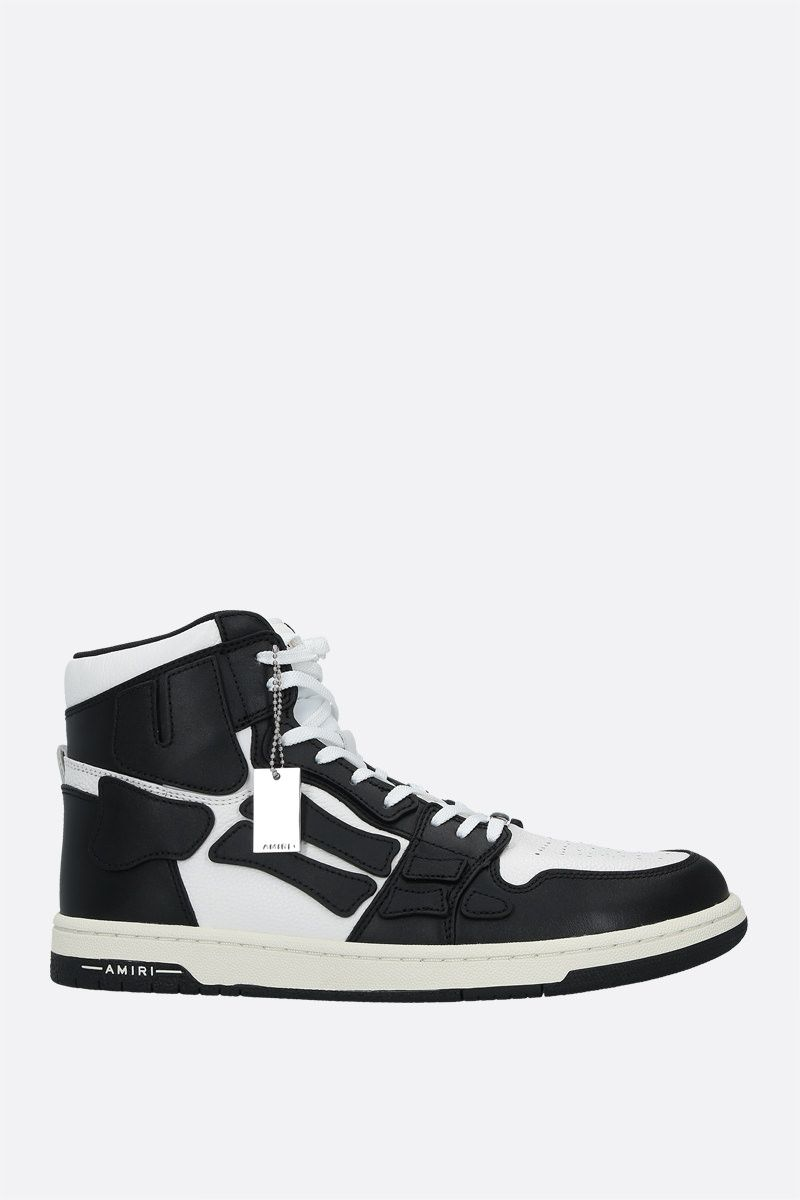 AMIRI: Skel smooth and grainy leather high-top sneakers Color Black_1