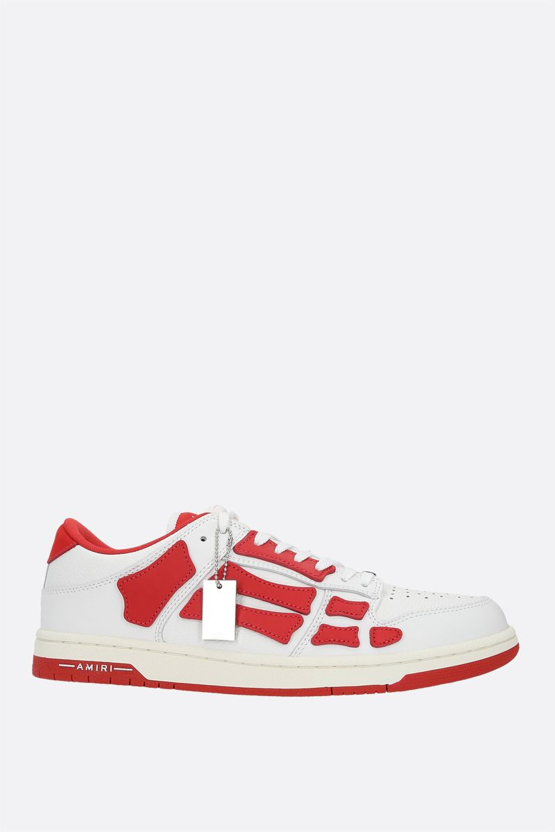 AMIRI: Skel smooth and grainy leather sneakers Color Red_1