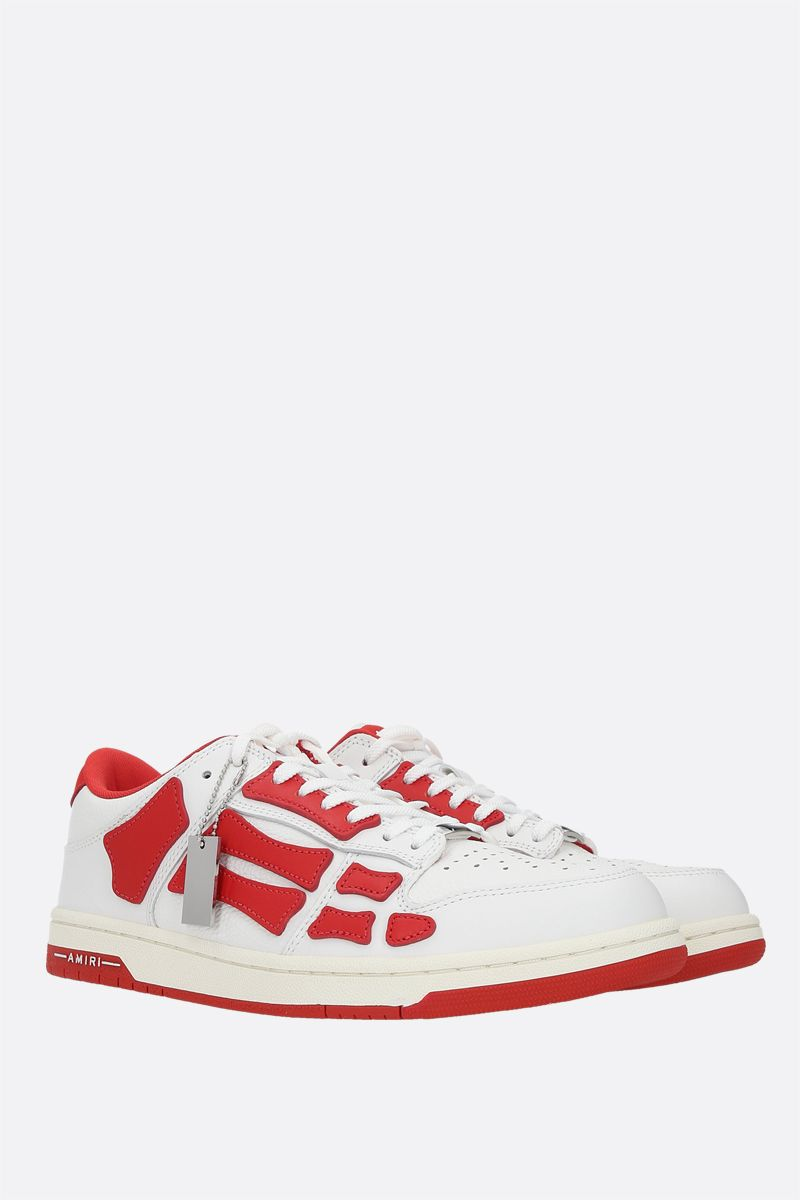 AMIRI: Skel smooth and grainy leather sneakers Color Red_2