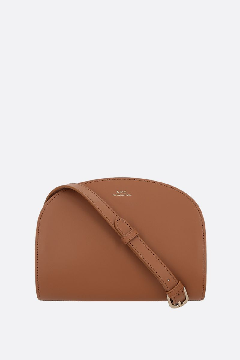 A.P.C.: Demi-Lune mini smooth leather crossbody bag Color Brown_1