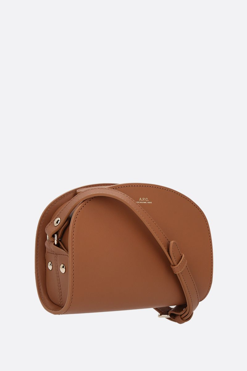 A.P.C.: Demi-Lune mini smooth leather crossbody bag Color Brown_2